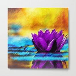 Purple Water Lily Landscape by Jéanpaul Ferro Metal Print