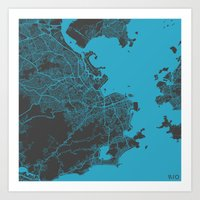 rio Art Prints featuring Rio by Map Map Maps