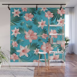 Tropical Flowers Palm Leaves Finesse #8 #tropical #decor #art #society6 Wall Mural