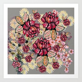 Roses and cherry blossom pattern Art Print