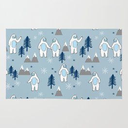 Yeti winter christmas cute forest pattern kids nursery holiday gifts Rug