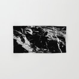 Dark marble black white stone1 Hand & Bath Towel