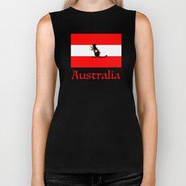 Australia - Kangaroo on Austrian Flag Biker Tank