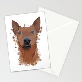 Miniature pinscher, watercolor portrait  Stationery Cards
