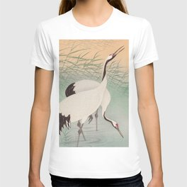 Two cranes in the lake - Japanese vintage woodblock print T-shirt