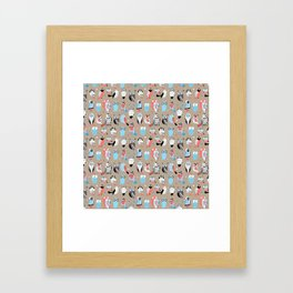 Beautiful graphic pattern little owls Framed Art Print