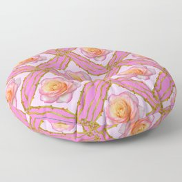 CREAMY  ROSES & RAMBLING THORNY CANES ON  PINK  DIAGONAL PATTERNS Floor Pillow
