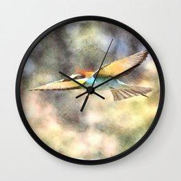 European Bee Eater In Flight Watercolor Wall Clock