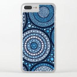 Dot Art Circles Ocean Blues Clear iPhone Case