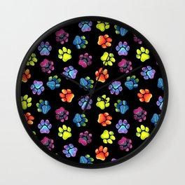 Black Rainbow Paw Print Pattern Wall Clock
