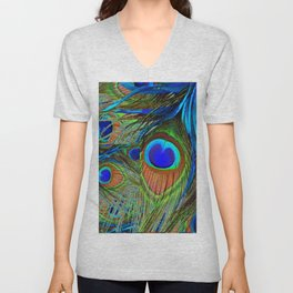 BLUE-GREEN PEACOCK FEATHERS ART Unisex V-Neck