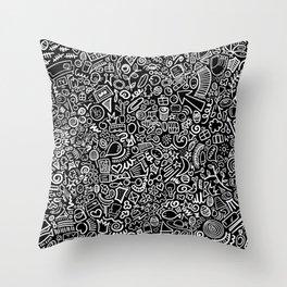 Hidden Images Doodle Art on Black Throw Pillow