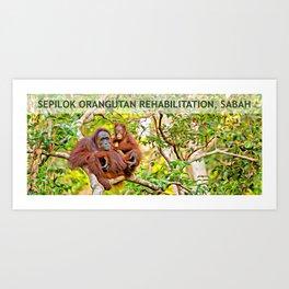 Sepilok Orangutan Rehabilitation Centre, Sabah, Borneo, Malaysia Art Print
