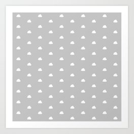 Light grey background with small white clouds pattern Art Print