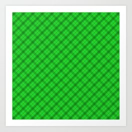 Monster Green and Black Halloween Tartan Check Plaid Art Print