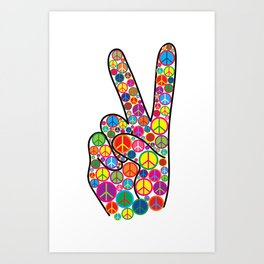 Cool Colorful Groovy Peace Sign and Symbols Art Print
