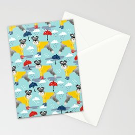 Schnauzer spring raincoat cute pattern for dog lover with schnauzers Stationery Cards