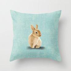 Portrait of a little bunny Throw Pillow