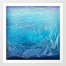 Wondersea Blue Art Print