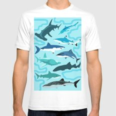 Sharks White MEDIUM Mens Fitted Tee