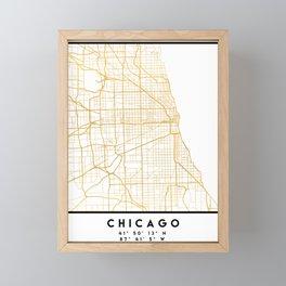 CHICAGO ILLINOIS CITY STREET MAP ART Framed Mini Art Print