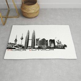 Kuala Lumpur skyline black Rug