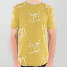 Happy Vibes Yellow All Over Graphic Tee