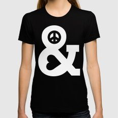 Peace and Love (pink edition) LARGE Black Womens Fitted Tee