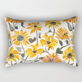 Sunflower Watercolor – Yellow & Black Palette Rectangular Pillow
