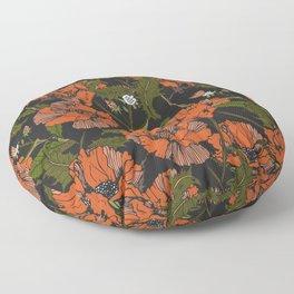 Autumnal flowering of poppies Floor Pillow