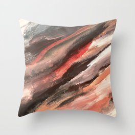 Moving Mountains: an abstract mixed media piece in contrasting pinks, purples, blues, and whites Throw Pillow