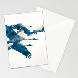 Beautiful Cranes in white background Stationery Cards