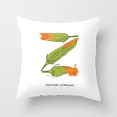 Z is for Zucchini Blossoms Throw Pillow