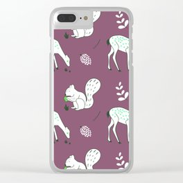 Wildlife - Happy Forest Animals Muted Berry Clear iPhone Case