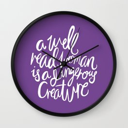 Well Read Woman - Feminist Nerd Girl Quote - White Purple Wall Clock