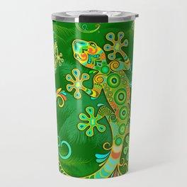 Gecko Lizard Colorful Tattoo Style Travel Mug
