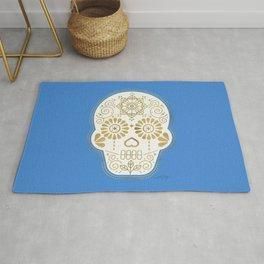Día de Muertos • Mexican Sugar Skull – Blue & Gold Palette Rug