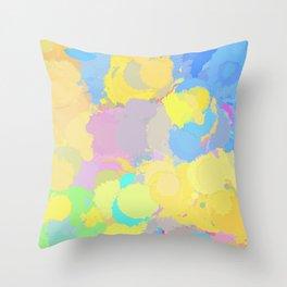 Colorful splatter, yellow-blue circles Throw Pillow
