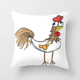 Silly Chicken Throw Pillow