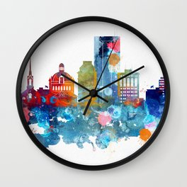 Colorful watercolor Lexington skyline Wall Clock