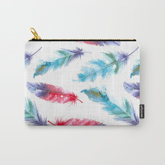 Boho Watercolor feathers Carry-All Pouch
