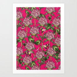 Red clover pattern Art Print