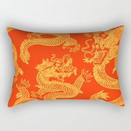 Red and Gold Battling Dragons Rectangular Pillow