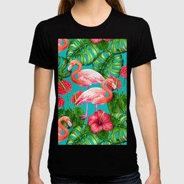 Flamingo birds and tropical garden          watercolor T-shirt