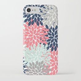 Flower Burst Petals Floral Pattern Navy Coral Mint Gray iPhone Case