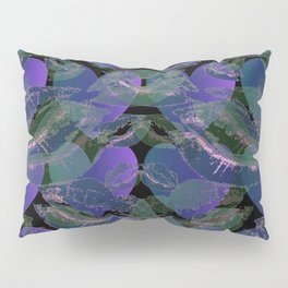 Blue Ombre Heart and Cold Kisses Pattern On Black Pillow Sham
