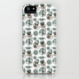 Ernst Haeckel Jellyfish Leptomedusae Cyan Brown iPhone Case