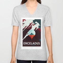 Enceladus - NASA Space Travel Poster Unisex V-Neck