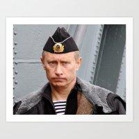 putin Art Prints featuring Putin seaman. by Mikhail Zhirnov