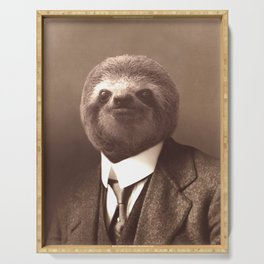 Gentleman Sloth in Sepia Tone Serving Tray